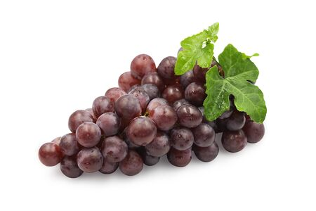 Photo pour Large bunch fresh ripe organic red grape with leaves on white isolated background. Red grape have sweet taste, juicy and delicious, use for make wine. Fresh fruit concept. - image libre de droit