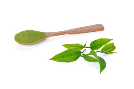 Photo for powder green tea and green tea leaf isolated on white background - Royalty Free Image