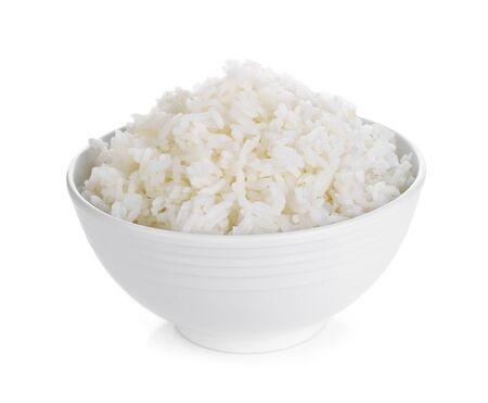 Foto de Rice in a bowl on a white background - Imagen libre de derechos