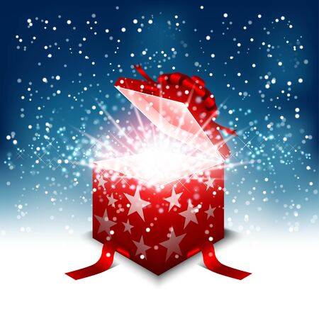 Illustration for Opened gift box surprise with magic glowing shine bright particle. Happy birthday, happy new year and merry christmas card. - Royalty Free Image
