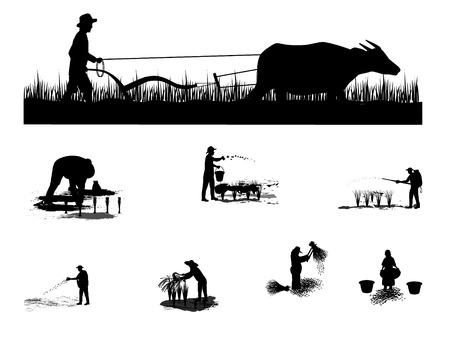 Illustration pour Silhouette of a farmer plowing. - image libre de droit