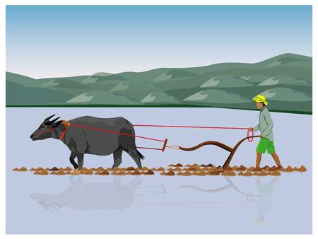 Illustration pour farmer plowing vector design - image libre de droit