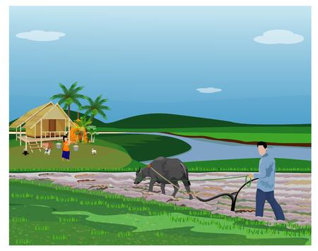 Illustration pour farmer plow in paddy field vector design - image libre de droit