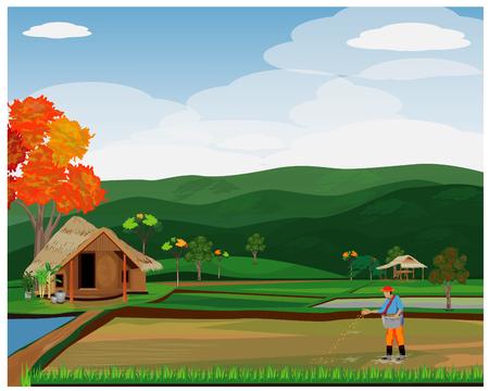 Illustration pour farmer sow rice vector design - image libre de droit