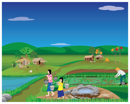 Illustration for lifestyle of people at countryside vector design - Royalty Free Image