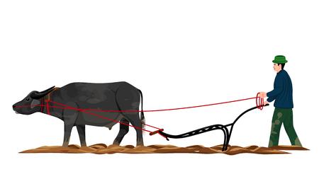 Illustration pour farmer plow vector design - image libre de droit