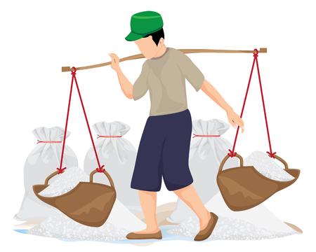 Illustration for agriculturist harvest salt vector design - Royalty Free Image