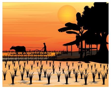 Illustration pour silhouette farmer vector design - image libre de droit