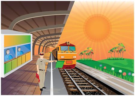 Illustration pour train station vector design - image libre de droit