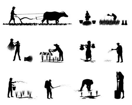 Illustration pour silhouette farmer shape vector design - image libre de droit