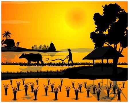 Illustration pour silhouette farmer plow in paddy field vector design - image libre de droit