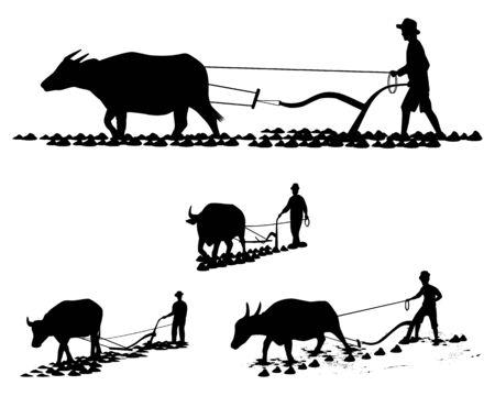 Illustration pour silhouette farmer plow vector design - image libre de droit