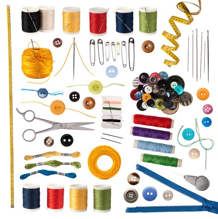 Photo pour Sewing accessories isolated on white  - image libre de droit