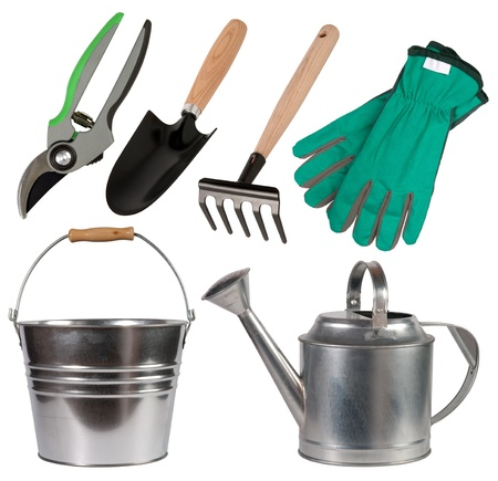 Gardening tools isolated on white background