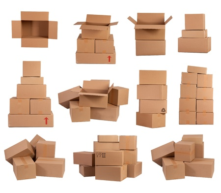 Stacks of cardboard boxes isolated on white