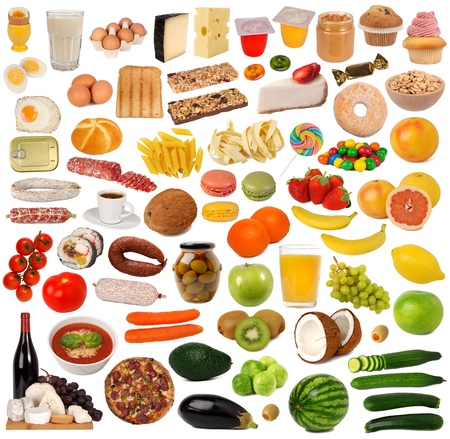 Photo pour Food collection isolated on white background  - image libre de droit