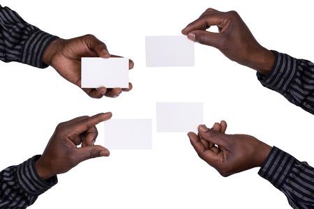 Photo pour Hands holding cards - image libre de droit