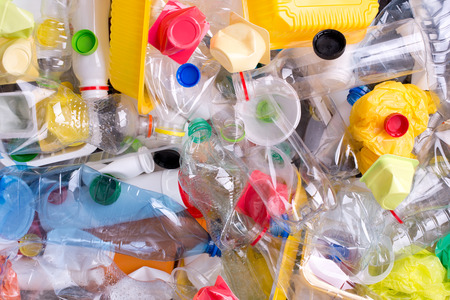 Plastic bottles and containers prepared for recycling