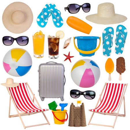 Summer items collection isolated on white background