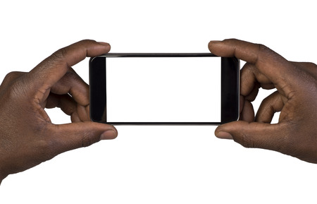 Photo for Man taking a picture using a smart phone. Isolated on white - Royalty Free Image