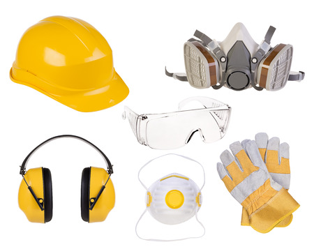 Photo pour Safety equipment isolated on white background - image libre de droit