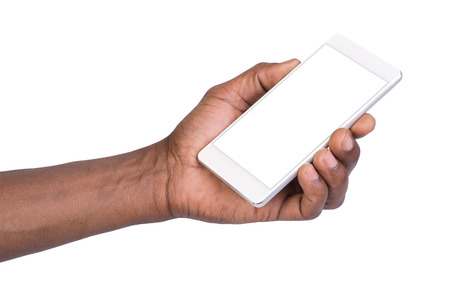Photo for Man holding white mobile smart phone with blank screen. Isolated on white. - Royalty Free Image