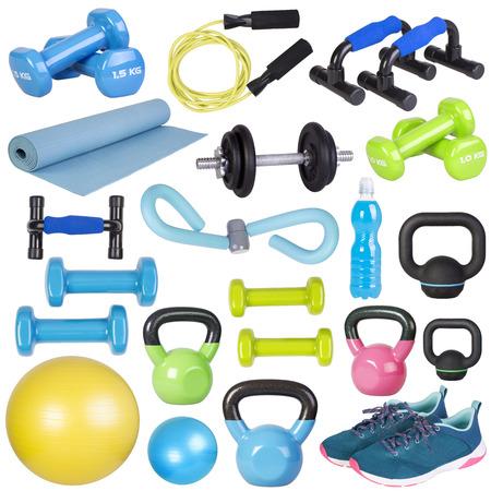 Foto de Fitness equipment isolated on white background - Imagen libre de derechos