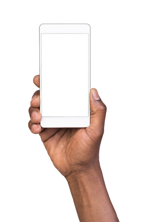 Foto de Man holding white mobile smart phone with blank screen. Isolated on white. - Imagen libre de derechos