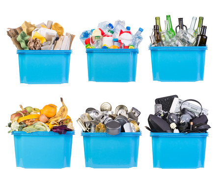 Recycling bins with paper, plastic, glass, metal, organic and electronic waste isolated on white