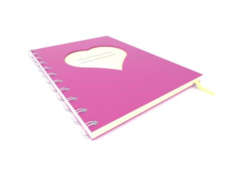 Pink diary with a heart shaped
