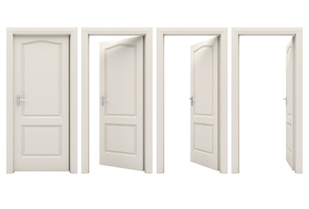 Photo pour Open white door - image libre de droit