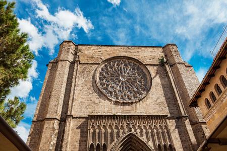 The main facade and te wall of Santa Maria del Pi church in Barcelona, Catalonia, Spain