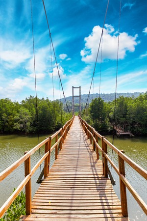 Thung Kha Bay Mangrove Forest. Wooden walkway suspension bridge in forest. Chumphon, Thailand For nature walks to study coastal plants and animals.