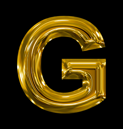 letter G rounded shiny golden isolated on black background