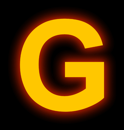letter G neon light full isolated on black background