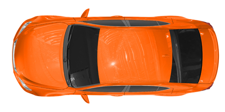car isolated on white - orange paint, tinted glass - top view - 3d rendering