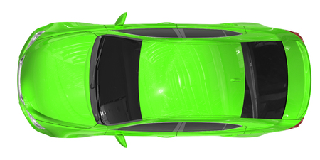 car isolated on white - green paint, tinted glass - top view - 3d rendering