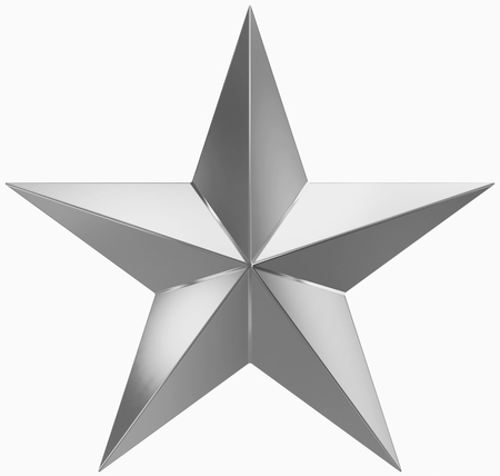 Photo for Christmas Star silver - 5 point star - isolated on white - 3d rendering - Royalty Free Image