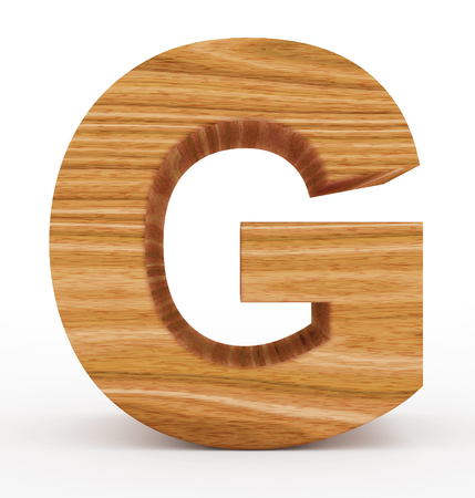 letter G 3d wooden isolated on white - 3d rendering