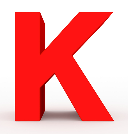 letter K 3d red isolated on white - 3d rendering