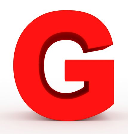letter G 3d clean red isolated on white - 3d rendering
