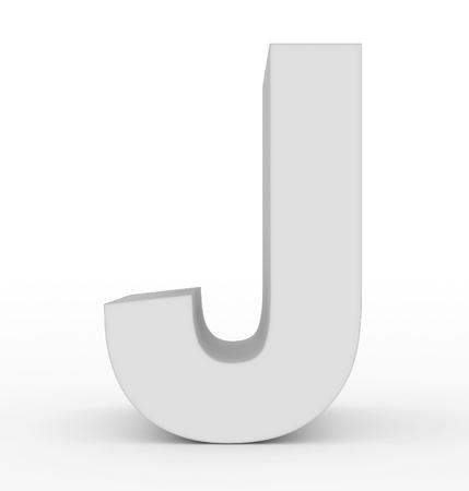 letter J 3d white isolated on white - 3d rendering