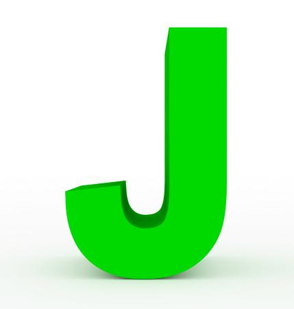 letter J 3d green isolated on white - 3d rendering