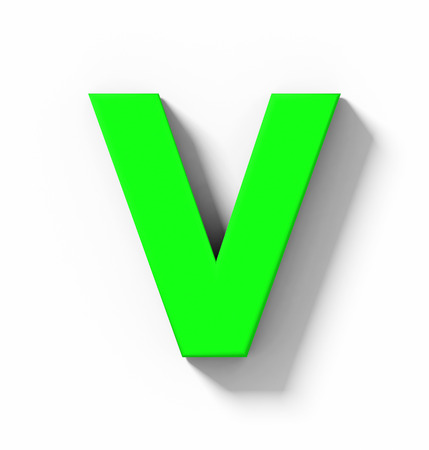 letter V 3D green isolated on white with shadow - orthogonal projection - 3d rendering