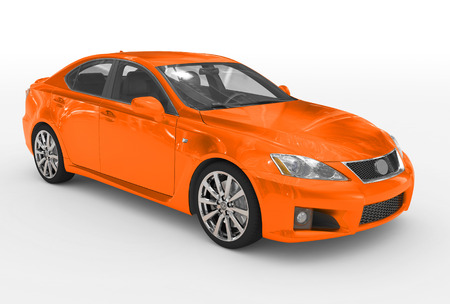 Photo pour car isolated on white - orange paint, transparent glass - front-right side view - 3d rendering - image libre de droit