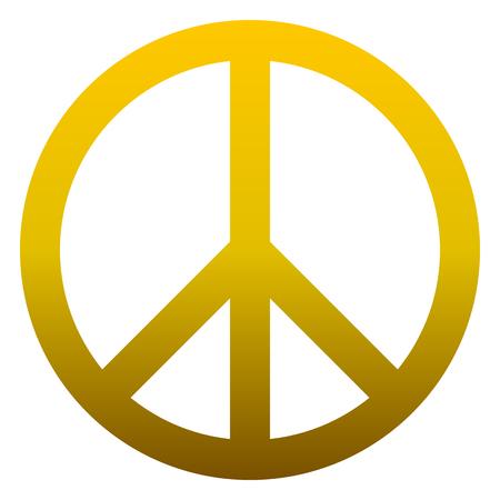 Ilustración de Peace symbol icon - golden simple gradient, isolated - vector illustration - Imagen libre de derechos