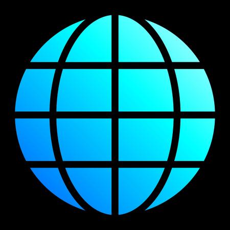 Globe symbol icon - cyan blue gradient, isolated - vector illustration