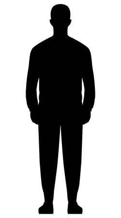 Illustration pour Man standing silhouette - black simple, isolated - vector illustration - image libre de droit