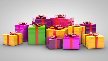 Photo for A pile of gifts on a gray background - Royalty Free Image