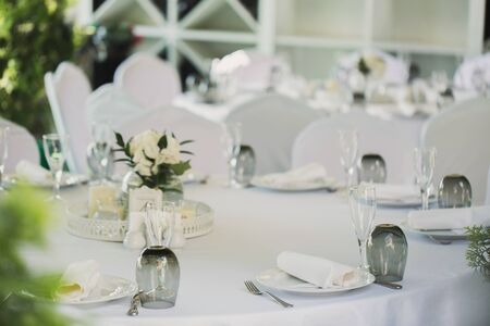 Foto für Beautifully decorated tables for guests with decorations - Lizenzfreies Bild